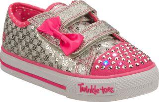 Infant/Toddler Girls Skechers Twinkle Toes Shuffles Sweet Steps   Silver/Pink V