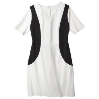Merona Womens Plus Size V Neck Colorblock Ponte Dress   Cream/Black 2