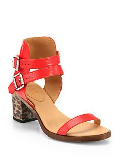 MM6 Maison Martin Margiela Hologram Heel Leather Sandals   Tangerine