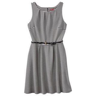 Merona Womens Textured Sleeveless Belted Dress   Black/Sour Cream   M