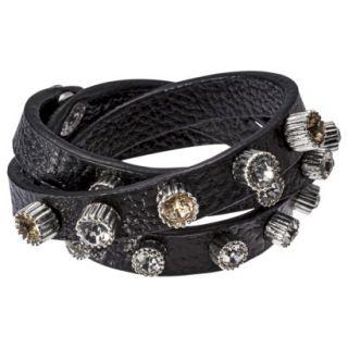 Capsule by C ra Multi Wrap Bracelet with Rhinestone Studs   Black