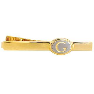 Engravable Two Tone Oval Tie Bar, Gold/Silver, Mens