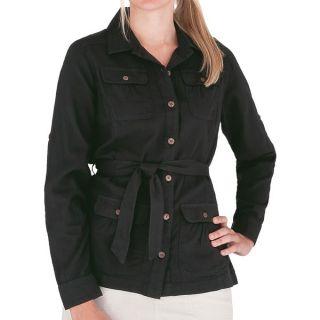 Royal Robbins Cool Mesh Cotton Shirt Jacket   Long Sleeve (For Women)   JET BLACK (M )