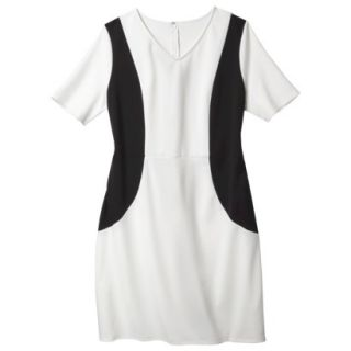 Merona Womens Plus Size V Neck Colorblock Ponte Dress   Cream/Black 1