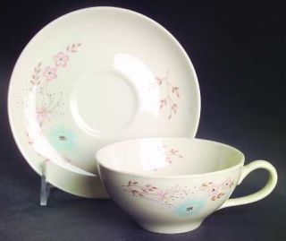Taylor, Smith & T (TS&T) Echo Dell Flat Cup & Saucer Set, Fine China Dinnerware