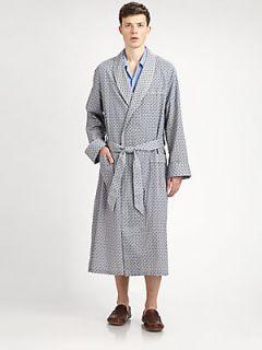 Derek Rose Nelson Shawl Collar Robe   Navy
