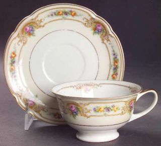 Black Knight Blk1 Footed Cup & Saucer Set, Fine China Dinnerware   Florals In Br