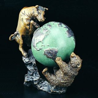 Bey Berk International 7.5H in. Bull and Bear Fight with Globe Multicolor   B159