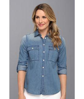 MICHAEL Michael Kors Military Denim Shirt Womens Long Sleeve Button Up (Blue)