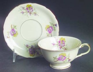 Black Knight Apple Blossom (Cream Background) Footed Cup & Saucer Set, Fine Chin