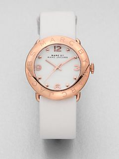 Marc by Marc Jacobs Amy Rose Goldtone Stainless Steel & Leather Watch   White Ro