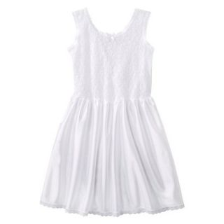 Girls Lace Nylon Full Slip   White 6X