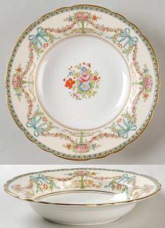 John Aynsley Rosedale (Bows, Flowers On Edge) Rim Soup Bowl, Fine China Dinnerwa