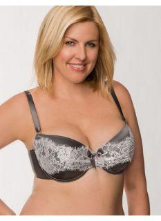Lane Bryant Plus Size Draped lace satin demi bra     Womens Size 36DD,