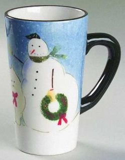 Oneida Snow Family Latte Mug, Fine China Dinnerware   Snowmen Rim,Inner Red Line
