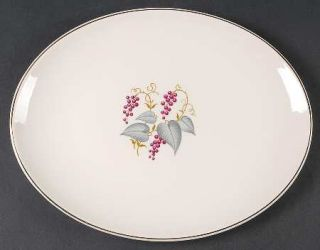 Edwin Knowles Vintage 12 Oval Serving Platter, Fine China Dinnerware   Purple G