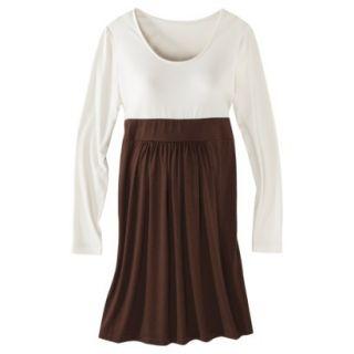 Merona Maternity Long Sleeve Colorblock Dress   Cream/Brown XS
