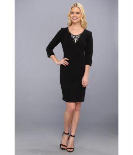 Donna Morgan Three Quarter Sleeve Multi Seamed Fitted Sheath Womens Dress (Black)