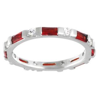 Tressa Collection Sterling Silver Cubic Zirconia Round Ring   Red 6