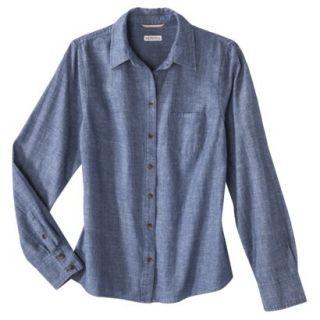 Merona Petites Long Sleeve Chambray Shirt   Blue LP