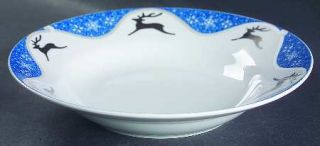 Montgomery Ward Winterlight Reindeer Rim Soup Bowl, Fine China Dinnerware   Silv