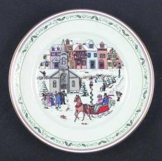 Royal Worcester Village Christmas Salad Plate, Fine China Dinnerware   Porcelain