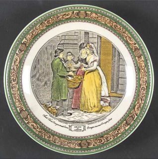 Adams China Cries Of London (Green & Brown Rim) Saucer for Jumbo Cup, Fine China