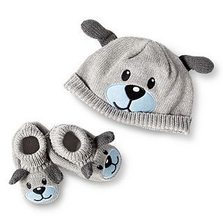 Wendy Bellissimo Hat and Booties Set, Grey, Boys