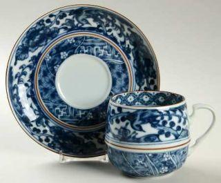 International Ching Te Chen Flat Cup & Saucer Set, Fine China Dinnerware   Dark