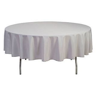 Metallic Silver Round Polyester Tablecloth