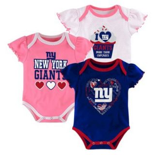 NFL Girls Onesie 3 Pack Giants 18 M