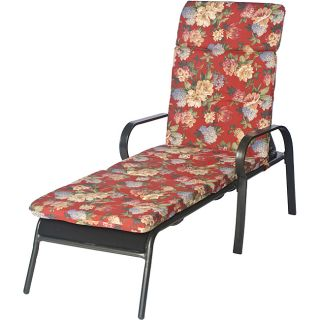 Ali Patio Polyester Crimson Red Floral Tufted Hi back Outdoor Chaise Lounge Cushion (Crimson red, with accents of hunter green, sage green, rose red, beige, tan, cream, light blue, steel blueMaterial: Tufted polyester fabricFill: 2 inches of polyester fib
