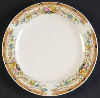 Edwin Knowles Kno136 Bread & Butter Plate, Fine China Dinnerware   Tan Scrolls &