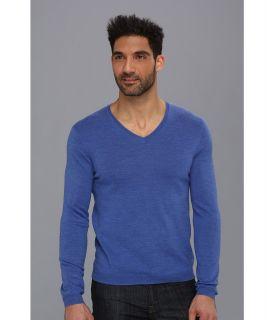 Calvin Klein Solid V Neck w/ Interior Tipping Mens Sweater (Blue)