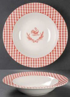 Stoney Hill Rooster Gingham Red Rim Soup Bowl, Fine China Dinnerware   Red Plaid