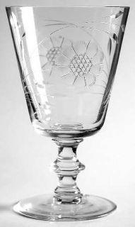 WJ Hughes Cornflower (Wafer Stem) Water Goblet   Floral Cut,Wafer Stem