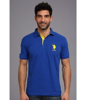 U.S. Polo Assn Slim Fit Big Horse Polo w/ Stripe Collar Mens Short Sleeve Pullover (Blue)