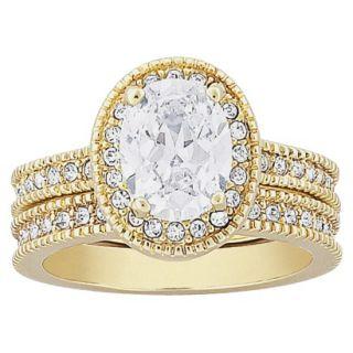 Vintage 2 Piece CZ Wedding Ring Set