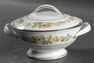 Noritake Diane Sugar Bowl & Lid, Fine China Dinnerware   Fruit & Flowers On Rim,