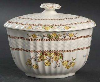 Spode Wicker Dell Sugar Bowl & Lid, Fine China Dinnerware   Chelsea Wicker, Flor