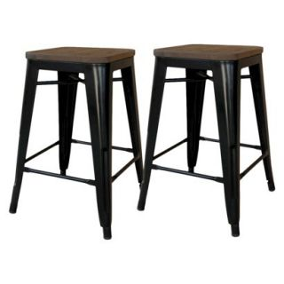 Barstool: Threshold Hampden 29 Black Industrial Barstool with Wood Top (Set of