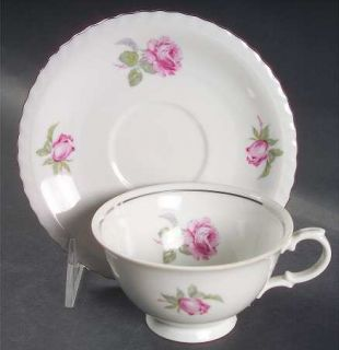 Toscport Vienna Rose Footed Cup & Saucer Set, Fine China Dinnerware   Roses & Bu