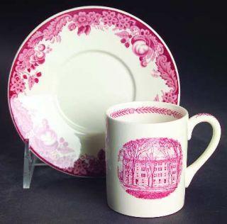 Wedgwood Harvard University Pink (No Gold Trim) Flat Demitasse Cup & Saucer Set,