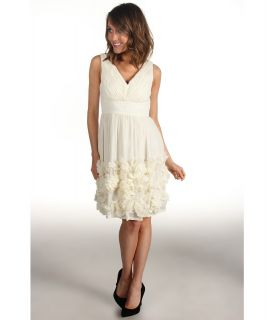 Donna Morgan Ruched Bodice Chiffon Dress With Rosettes Womens Dress (Bone)