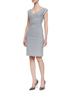 Womens Bevin Asymmetric Ruched Dress, Heather Gray   Diane von Furstenberg