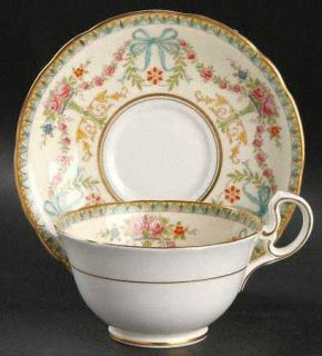John Aynsley Rosedale (Bows, Flowers On Edge) Footed Cup & Saucer Set, Fine Chin