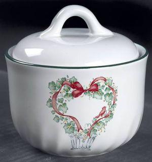Corning Callaway Holiday Sugar Bowl & Lid, Fine China Dinnerware   Corelle,Tree