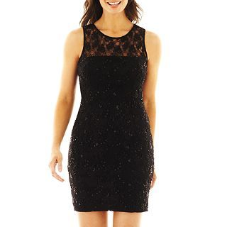 Liliana Illusion Neck Lace Dress, Black