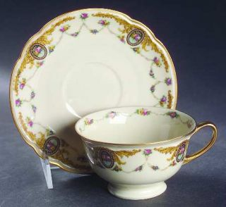 Black Knight Blk18 Footed Cup & Saucer Set, Fine China Dinnerware   Yellow Scrol