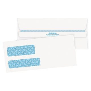 Quality Park Double Window Tinted Redi Seal Check Envelope   White (500 Per Box)
